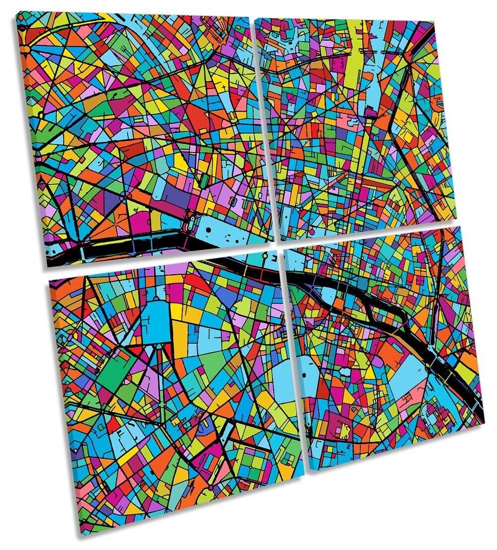 Paris Stadt Modern Map Bild MULTI CANVAS Wand Kunst Square Multi-Colourot