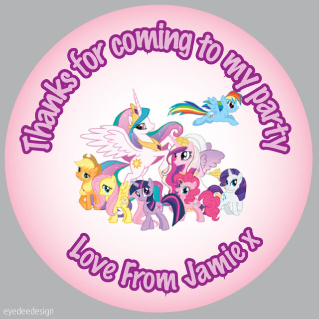 35 x my little pony personalised party bag stickers thank you party