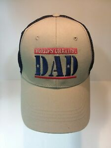 858535784 Details about Father's Day Gift Worlds Greatest Dad Hat Khaki Snapback Blue  Mesh Cap Adjustabl