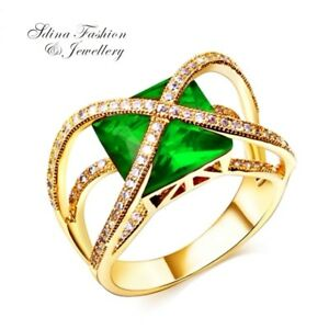 Copper-18K-Yellow-Gold-Filled-AAA-Grade-CZ-Princess-Cut-Crossover-Emerald-Ring