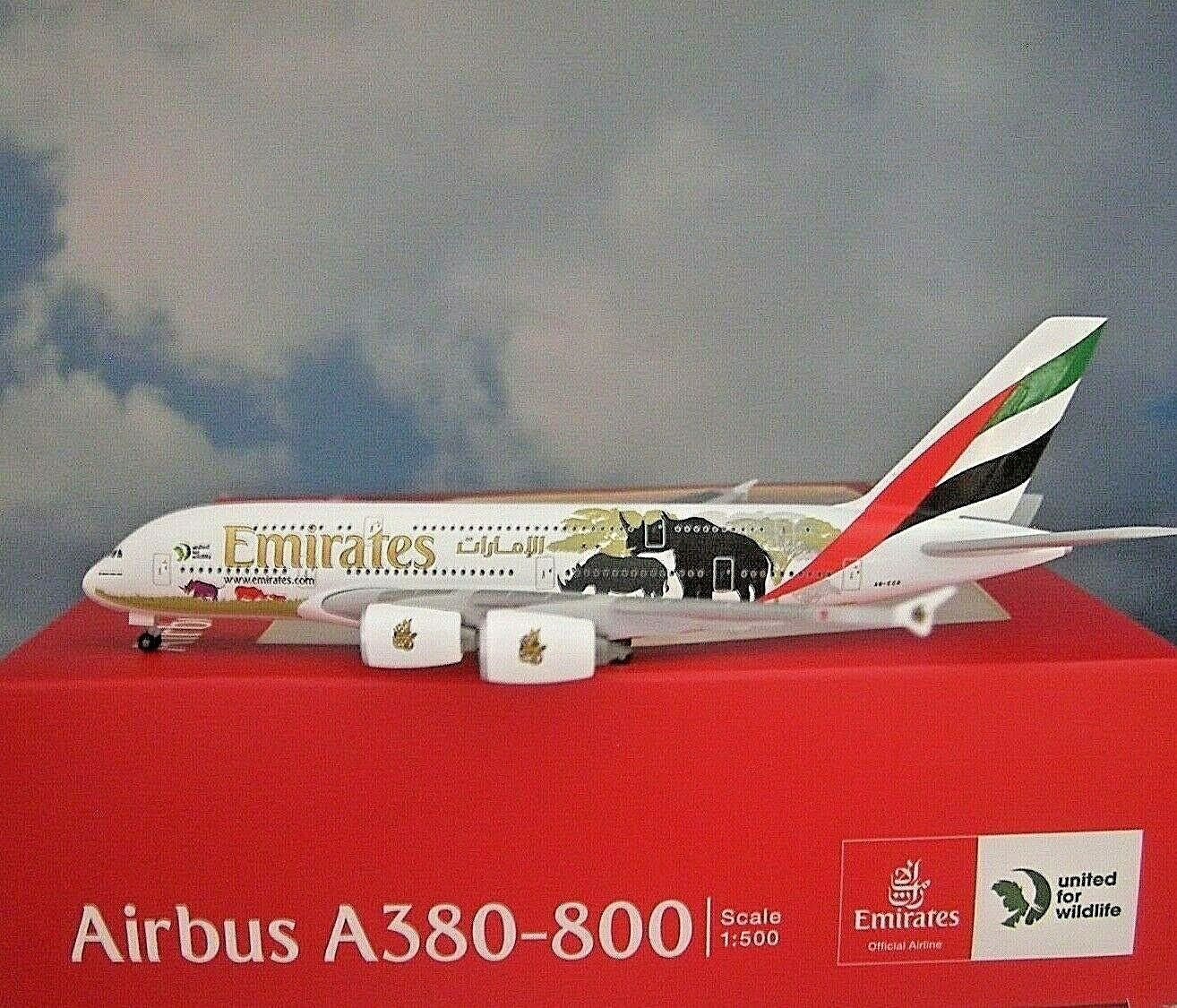 Herpa Wings 1 500 Airbus a380 Emirates United Wildlife 02 532723 modellairport 500