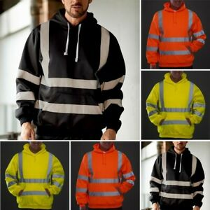 Men-Road-Work-High-Visibility-Pullover-Long-Sleeve-Hooded-Tops-Sweatshirt-Blouse