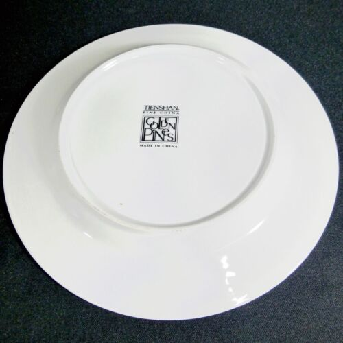 """Tienshan Golden Pines Dinner Plate 10 1//2/"""" Discontinued White Gold Trees Trim"""