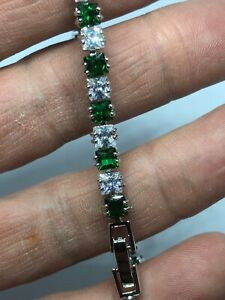 Green-Emerald-White-Topaz-Tennis-Gemstone-Sterling-Silver-925-Chain-Bracelet
