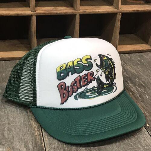Bass Buster Fishing Derby 80s 90s Vintage Trucker Hat Snapback Lake Boat Green