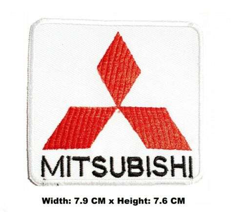Mitsubishi Racing Red Logo Biker Embroidered Iron-on //Sew on Patch T-Shirt Badge