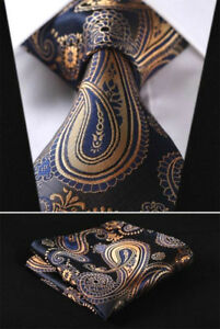 Mens-Wedding-Tie-Gold-Blue-Yellow-Floral-Paisley-Silk-Free-Hanky-Set-629