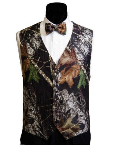 NEW Mossy Oak Break Up Camo Tuxedo Vest Bow Tie Camouflage FREE HANKIE, SHIPPING