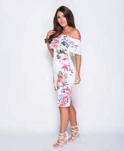 RENEE-White-Floral-Frill-Bardot-Bodycon-Summer-Party-Midi-Dress-6-8-10-12-14