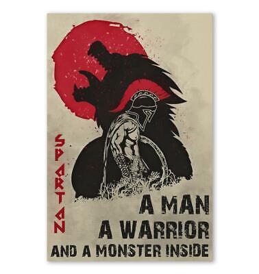 Spartan Warrior Poster Spartan Warrior Motivation Quotes Poster Canvas