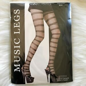 Seamless-Wild-Stripes-Fishnet-Pantyhose-Black-By-Music-Legs