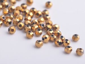 300x-Wholesole-3mm-Round-Faceted-Crystal-Glass-Charms-Loose-Beads-Gold-Plated