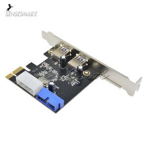 2-Ports-PCI-Express-USB-3-0-Panneau-avant-avec-controle-Carte-Adaptateur-4-Pin-amp-20-broches