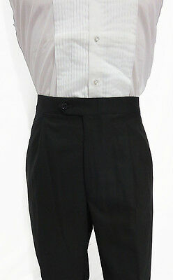 NEW Mens Black Tropical Weight Wool Tuxedo Trousers Adjustable Formal Tux Pants