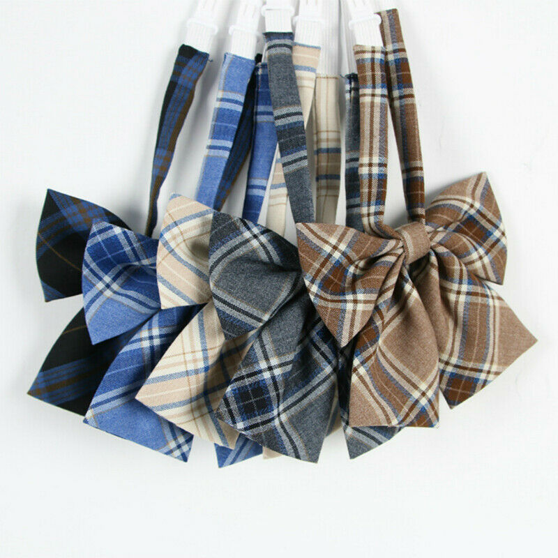 Girl Neck Tie Check Plaid Japanese JK Uniform Lolita Bow Tie Cosplay Preppy Chic