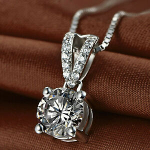 1-25ct-Round-Diamond-Solitaire-Pendant-Necklace-14k-White-Gold-Finish-For-Womens