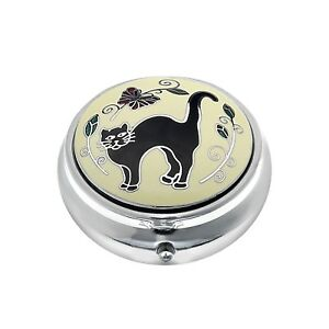 Pill-Box-Silver-Plated-Black-Cat-Tail-Up-Kitten-Design-Brand-New-and-Boxed