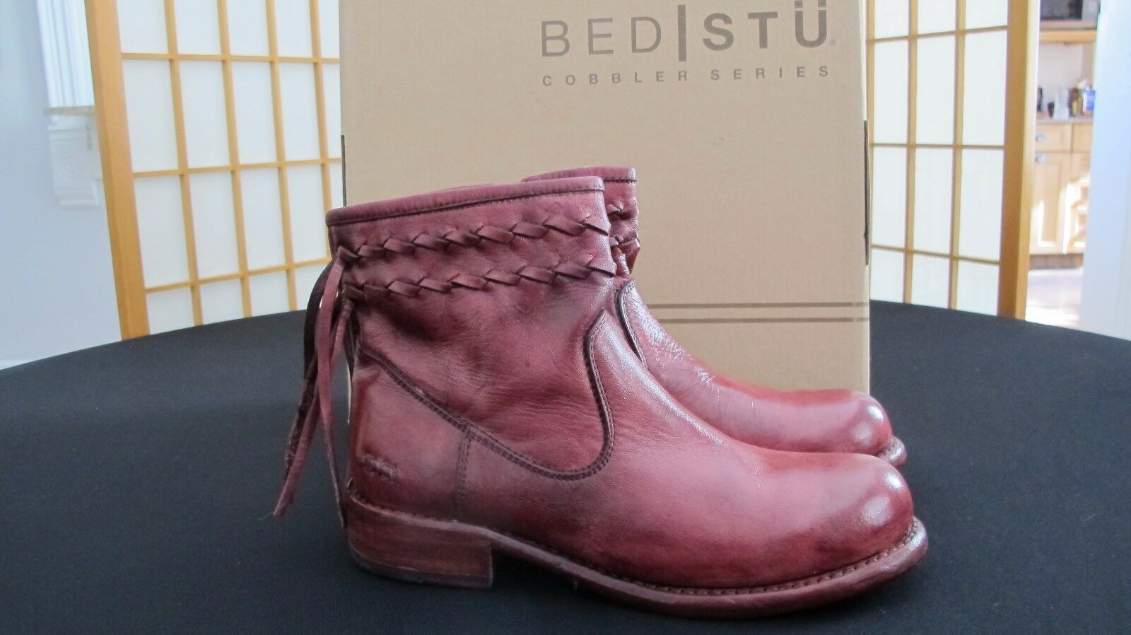BED STU CRAVEN DARK SCARLET COBBLER SERIES BENCH MADE REAR ZIP BOOTS SIZE 6.5