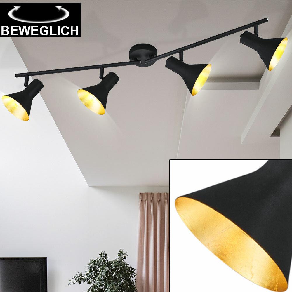 Retro Decken Strahler Arbeitszimmer Leuchte Büro Lampe schwenkbar schwarz Gold