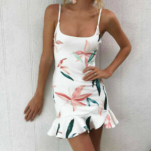 342c079894e8 Summer Floral Printed Mini Dress Female Boho Spaghetti Strap Dresses ...