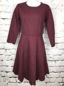 NWT-Lulu-039-s-Fit-and-Flare-Skater-Dress-Red-Maroon-Scalloped-3-4-Sleeve-Size-Large