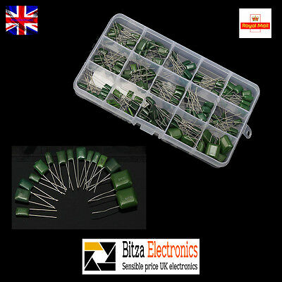 150pcs 15value 0.33nF-470nF Polyester Film Capacitors assorted kit with box UK