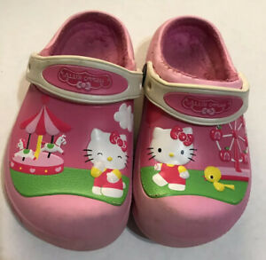 Hello-Kitty-Girl-Crocs-Pink-Carnival-Fur-Lined-Slip-On-Clogs-Kids-Size-10-C-11