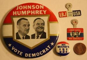 Presidential Lyndon Johnson Hubert Humphrey Pin Back Campaign Button LBJ Jugate