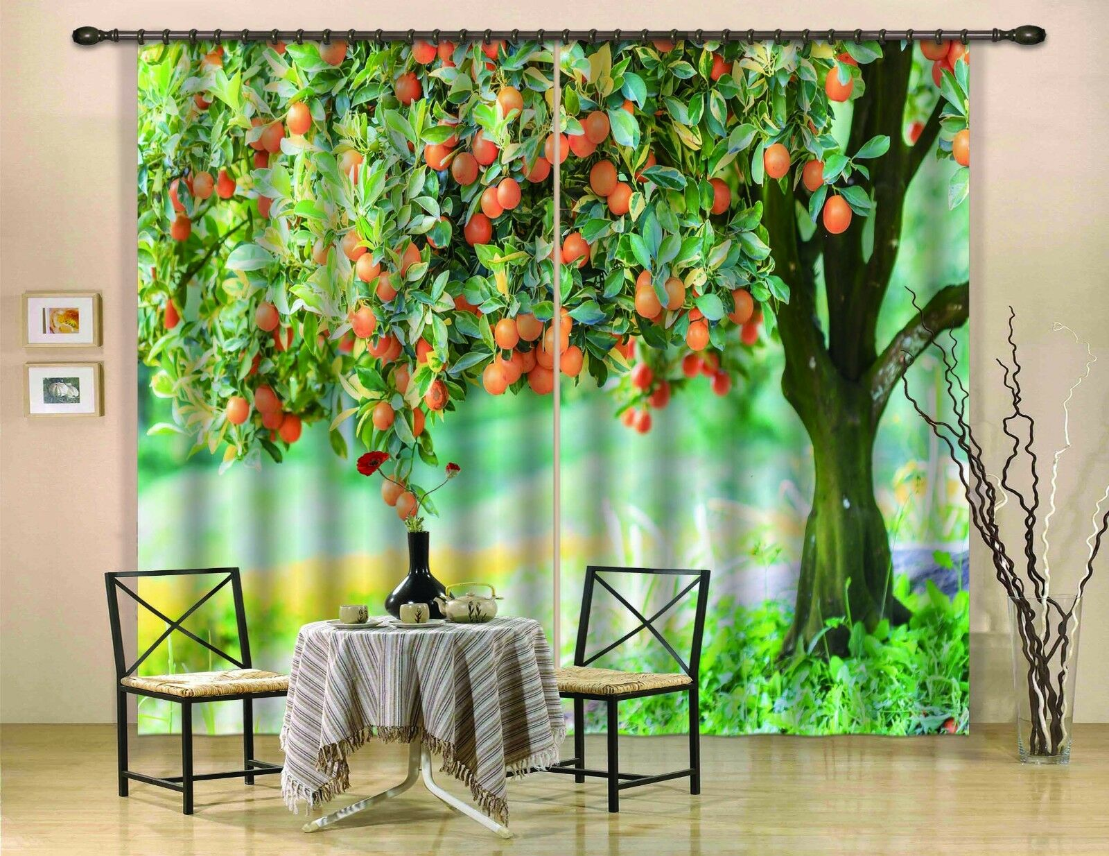 3D árbol frutal 8 Cortinas de impresión de cortina de foto Blockout Tela Cortinas Ventana au