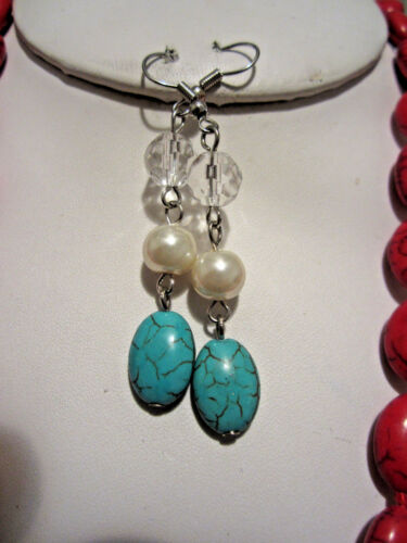 Four Layers Turquoise And Red Stone Cream Faux Pearl Necklace Earring Set