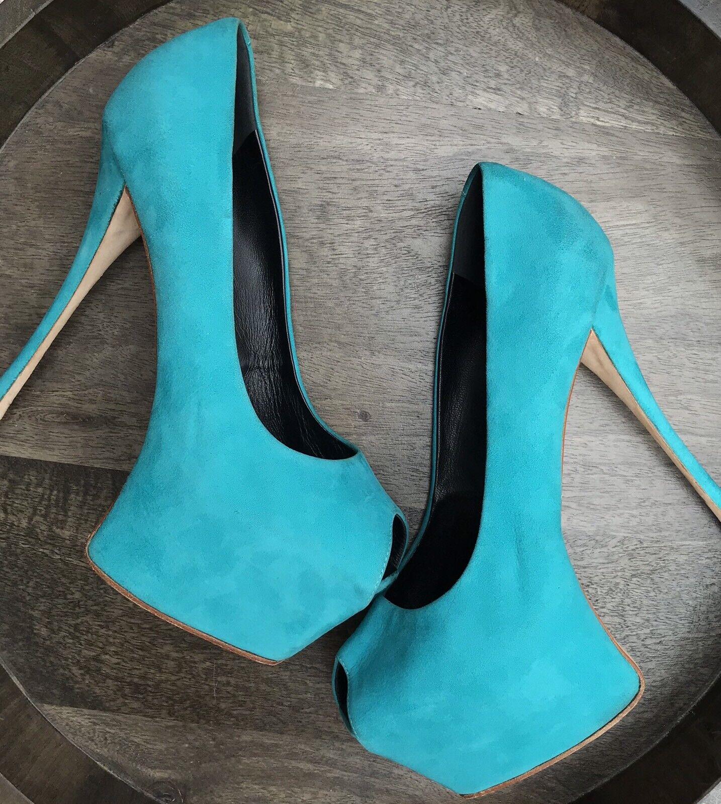 negozio online Giuseppe Zanotti Liza Dimensione 41 11 Platform Stillettos Heels Turquise Turquise Turquise Aqua blu  produttori fornitura diretta