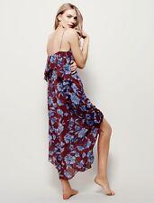 NEW Free People IFP wine blue Floral Chiffon Ruffled Midi Maxi Slip Dress L