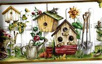 Birdhouses In A Garden Scene Wallpaper Border Nc76779b