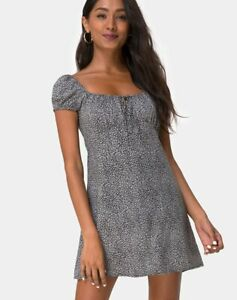 MOTEL-ROCKS-Gaval-Dress-in-Ditsy-Leopard-Grey-Large-L-MR7