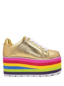 3d8c17ca5c4 Details about YRU Youth Rise Up Lala Gold Multi Color Rainbow Womens  Platform Sneaker Shoes