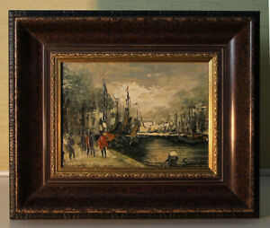 Small Oil Paintings 13x18 Harbour Scene impressionistisch Signed