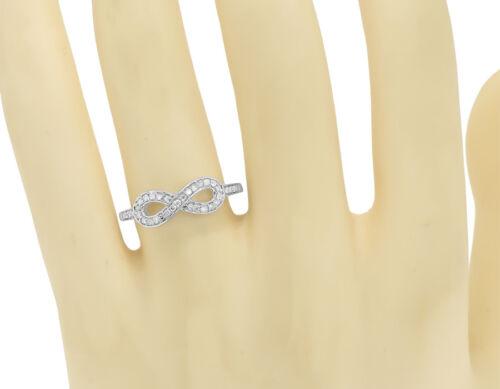 10k White Gold Ladies Round Pave Diamond Infinity Fashion Band Ring 0.17 ct