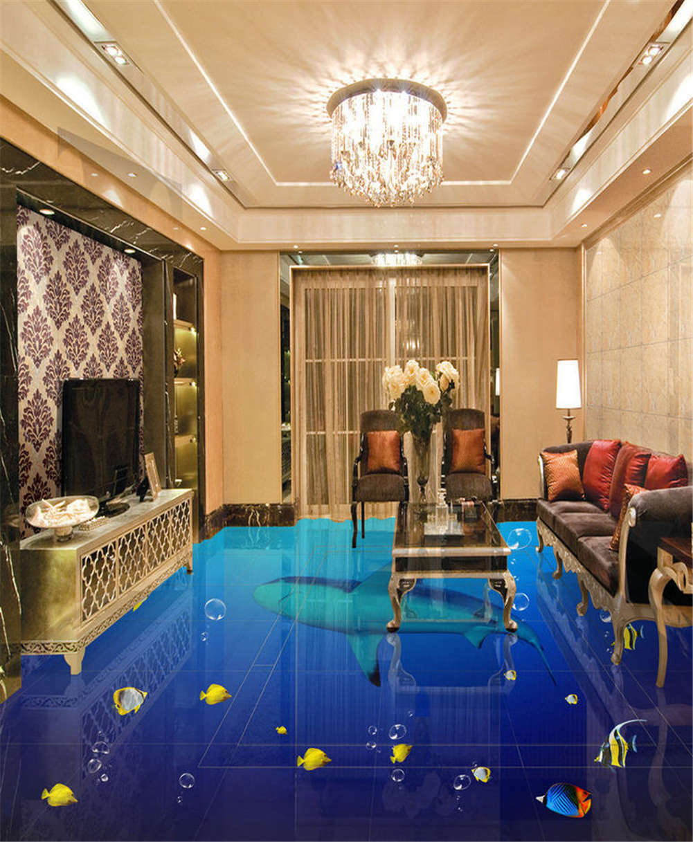 Deep Quiet Undersea3D Floor Mural Photo Flooring Wallpaper Home Print Decoration