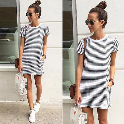 New Summer Women Short Sleeve Striped Mini Dress Casual Pocket Long T shirt Tops