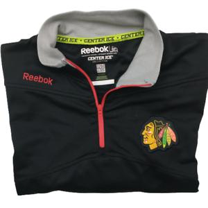 Reebok Chicago Blackhawks Men's Medium Black 1/4 Zip Pullover Sweater NHL