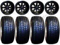 Golf Cart Wheels & Tires Rims Matte Black 10 Wheel 205/50-10 Tire Free Lugs