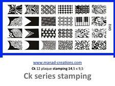 ck 12 nail art plaque stamping ongles faux déco pour vernis type konad manucure