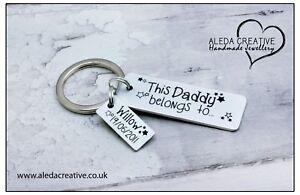 This Daddy Belongs to Christmas Gifts Personalised Keyring Mummy Grandad Dad Nan