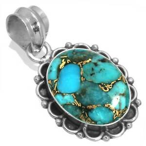 Copper-Blue-Turquoise-Women-Jewelry-925-Sterling-Silver-Pendant-Rq15643