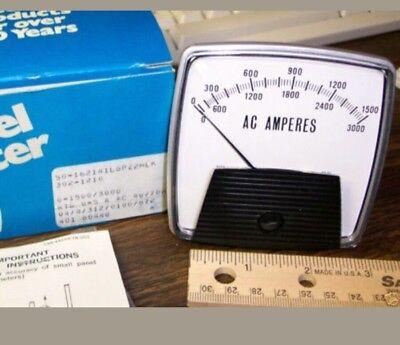 AC AMP METER 0-1500//3000  AMPS AMMETER TRANSFORMER-RATED 0-5 AMPERES 25-500 Hz