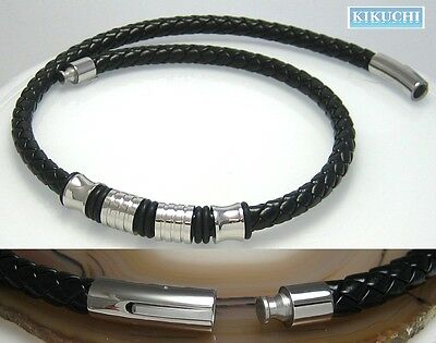 Edelstahl Leder Halsband Herren Schwarz 54cm/ 7mm Männer Collier Top Kunstleder