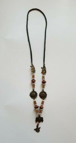 Vintage Brass Ceramic Aztec Tiki Tribal Necklace 3