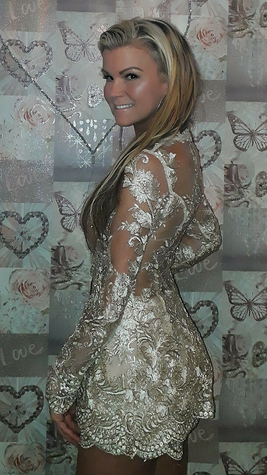 Lace sexy playsuit mini dress 10 nude gold shorts set BNWT sheer The Dolls House