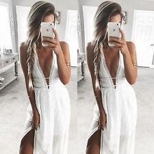 S-Sexy Women Summer Long Maxi Evening Party Dress Beach Dresses Casual Dress-S