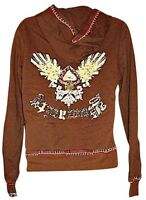 Yag Women's Hoodie Hooded Zippered Sweatshirt Zipper Front Brown Size Large Vtg